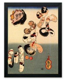 PRINT POSTER PAINTING SURREAL FANTASY DRAGON UTAGAWA KUNIYOSHI JAPAN NOFL0905